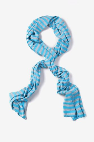 Mens Traveling Stripe Scarf by Ties.com Accessories -  Blue Polyester