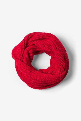 Red Concord Knit Infinity Scarf by Ties.com Accessories -  Red Acrylic