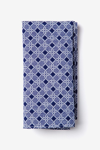 Jamaica Pocket Square by Ties.com -  Navy Blue Cotton